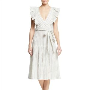 Rebecca Taylor Yarn Dye Stripe Ruffle Dress